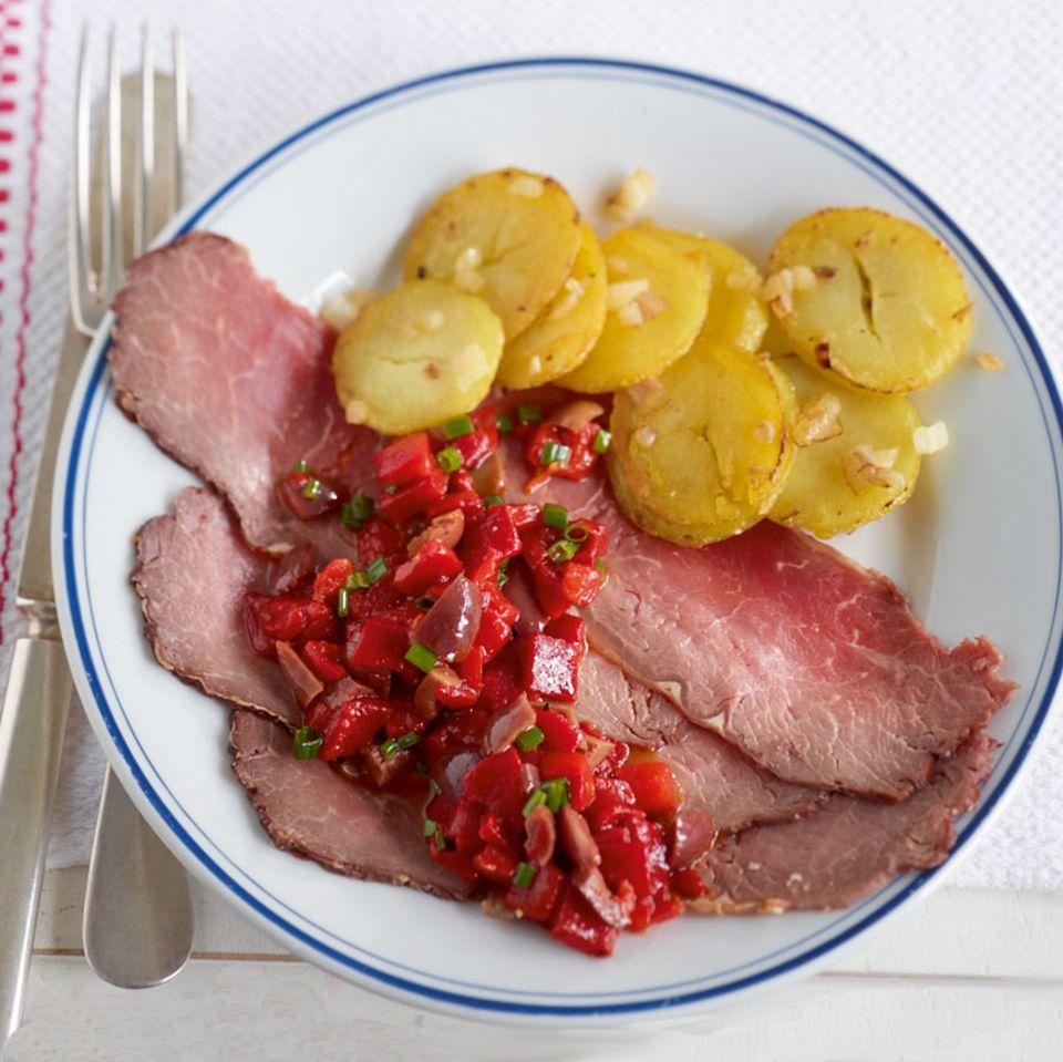 Roastbeef mit Paprika-Salsa