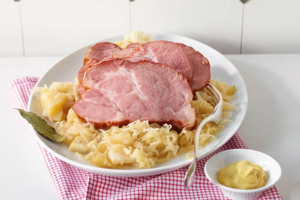 Kasseler auf Cidre-Sauerkraut Rezept