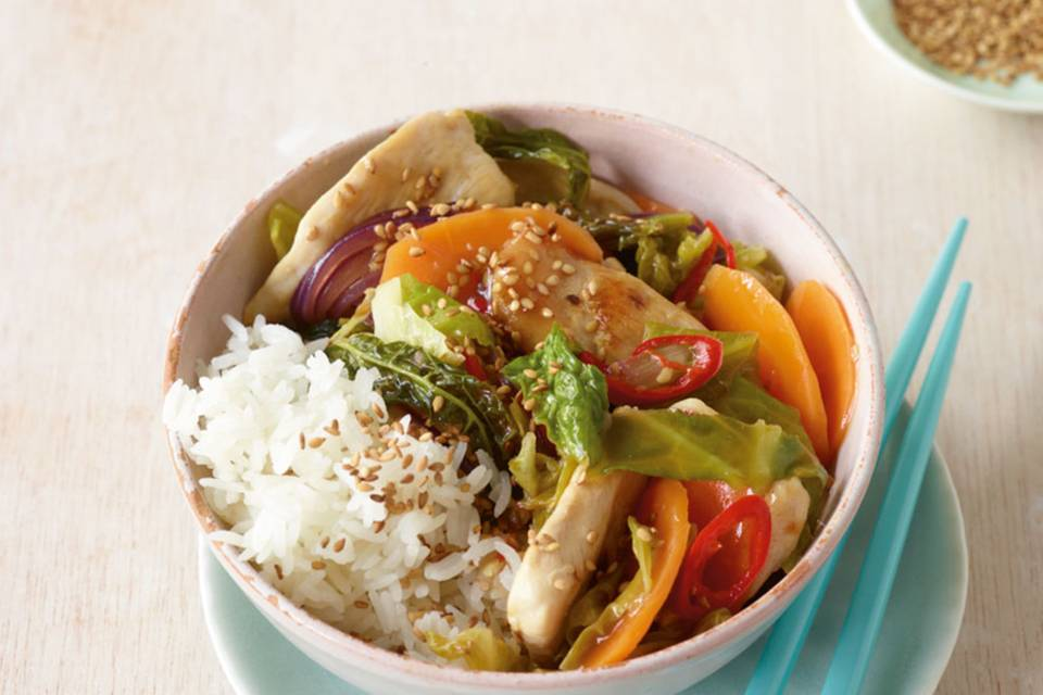Hähnchen mit Asia-Gemüse Rezept