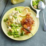 Spicy Hähnchenkeule mit Curry-Kartoffelpüree