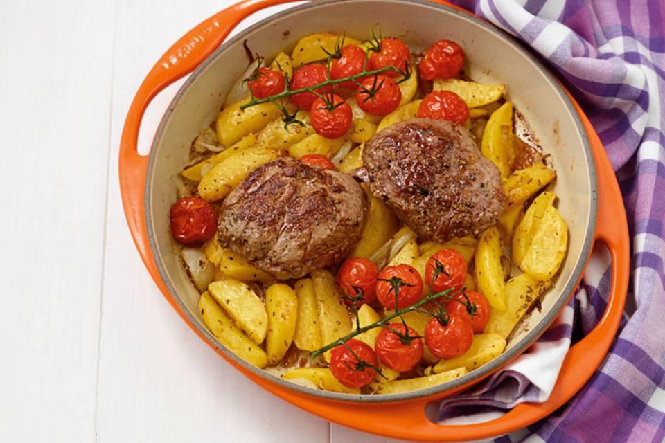 Lammsteaks auf Kartoffeln Rezept