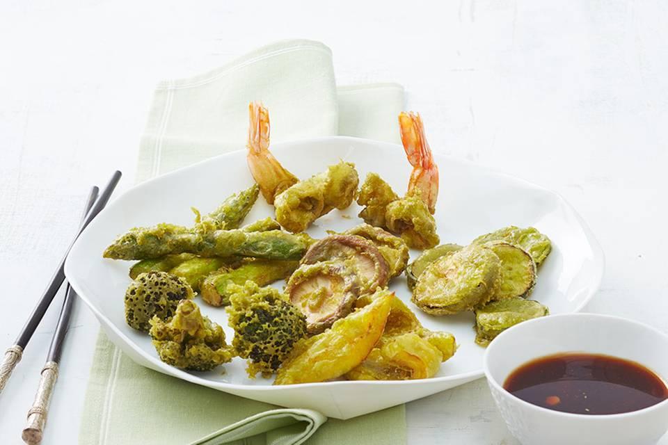 Gemüse und Garnelen in Matcha Rezept