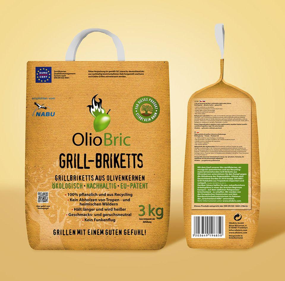 Nachhaltig hergestellt: Grill-Briketts von Olio Bric