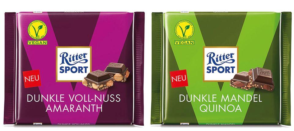 Schön knusprig und nicht so süß: vegane Schokolade von Ritter Sport