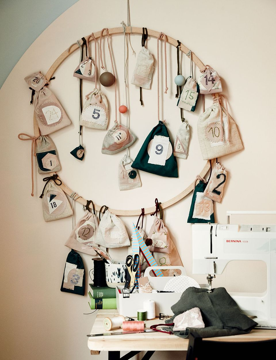 DIY-Adventskalender mit selbst genähten Säckchen