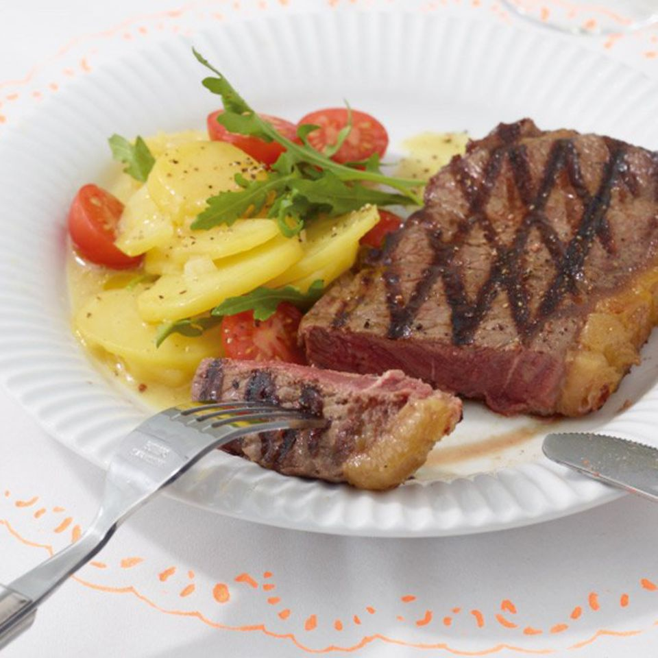 Sommer-Menü mit Steak