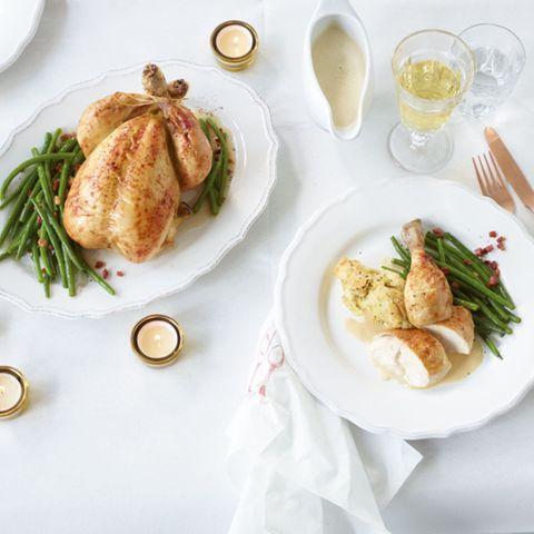 Menü: Gefülltes Hähnchen in Weißweinsahne