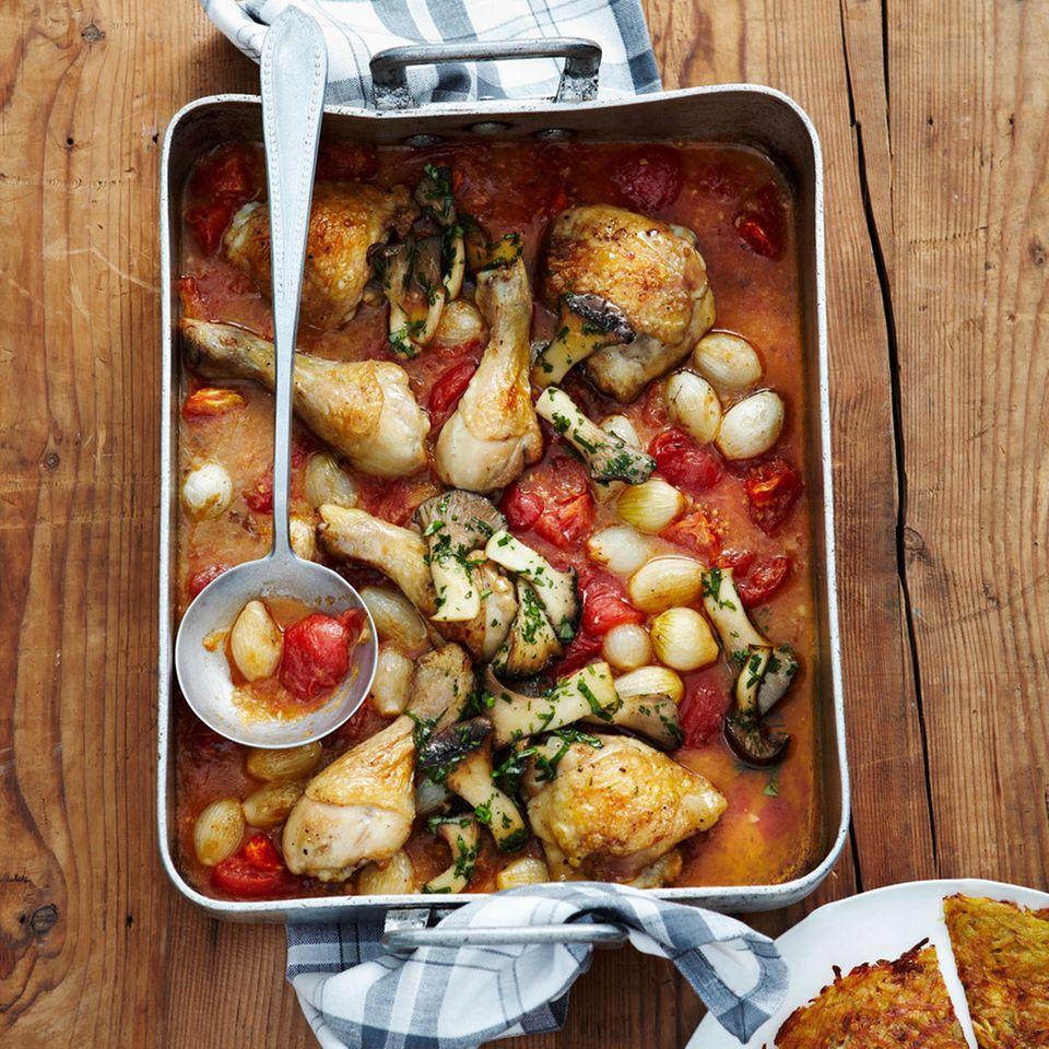 Hähnchenkeulen mit Tomaten und Kräuterseitlingen