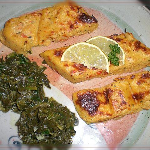 Spinat mit Zitronensauce und Polenta
