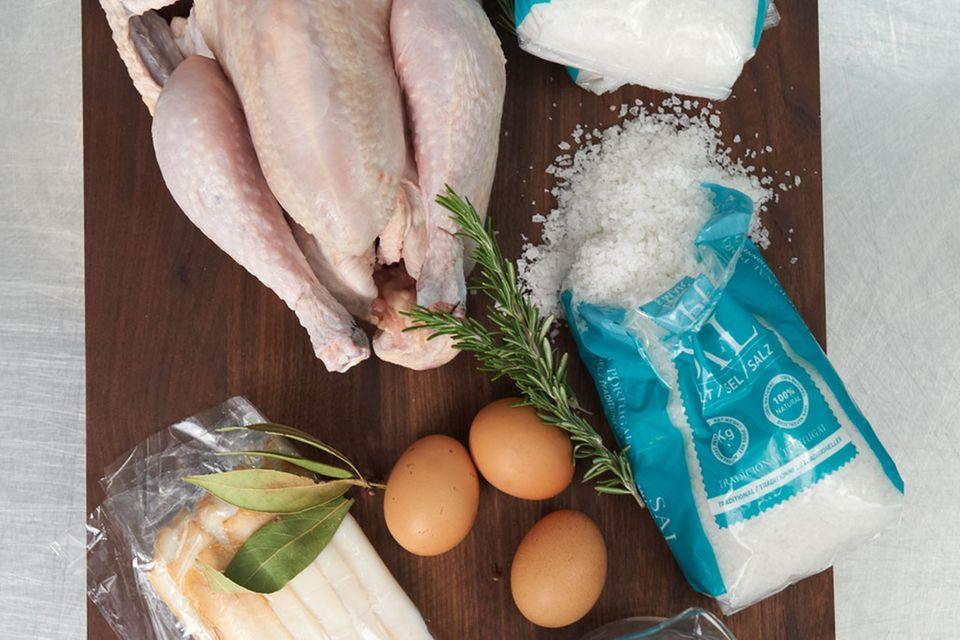 Huhn im Salzteig