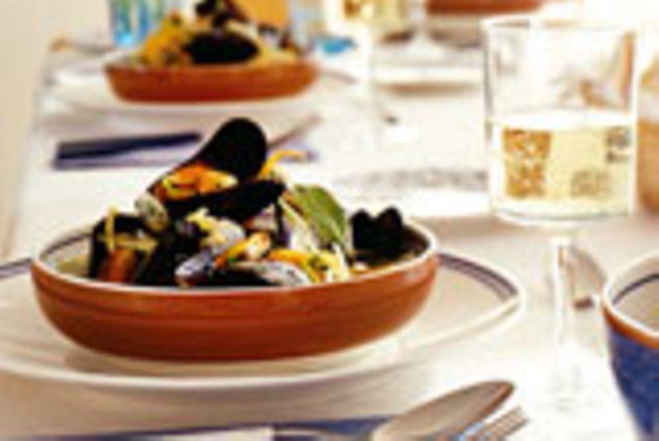 Muscheln mit Weißwein