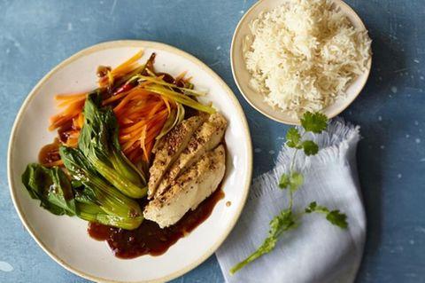 Asiatisches Hähnchen mit Reis