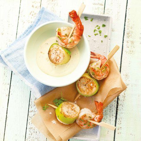 Meeresfrüchtespieße mit Dip