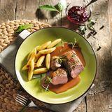 Rehrücken mit Rotweinsauce
