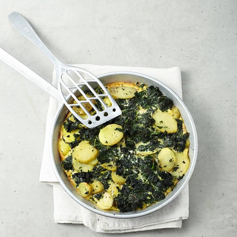 Grünkohl-Kartoffel-Frittata  Rezept