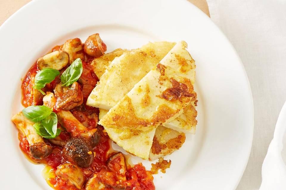 Sellerieschnitzel mit Pilz-Tomaten-Sugo  Rezept