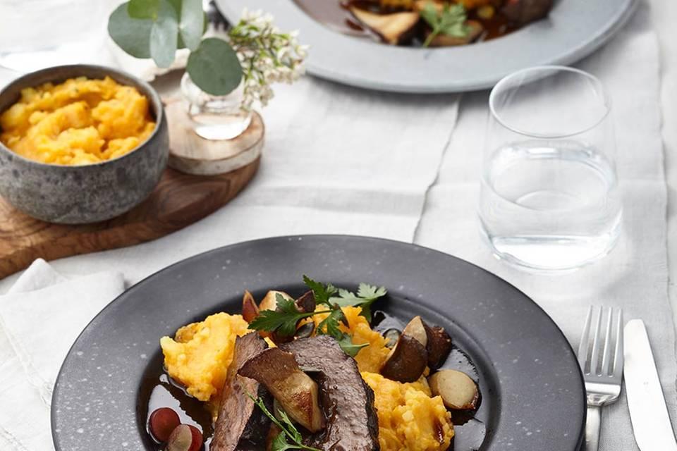 Kürbis-Kartoffel-Stampf und Kräuterseitlinge  Rezept