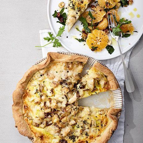 Sellerie-Quiche mit Clementinensalat