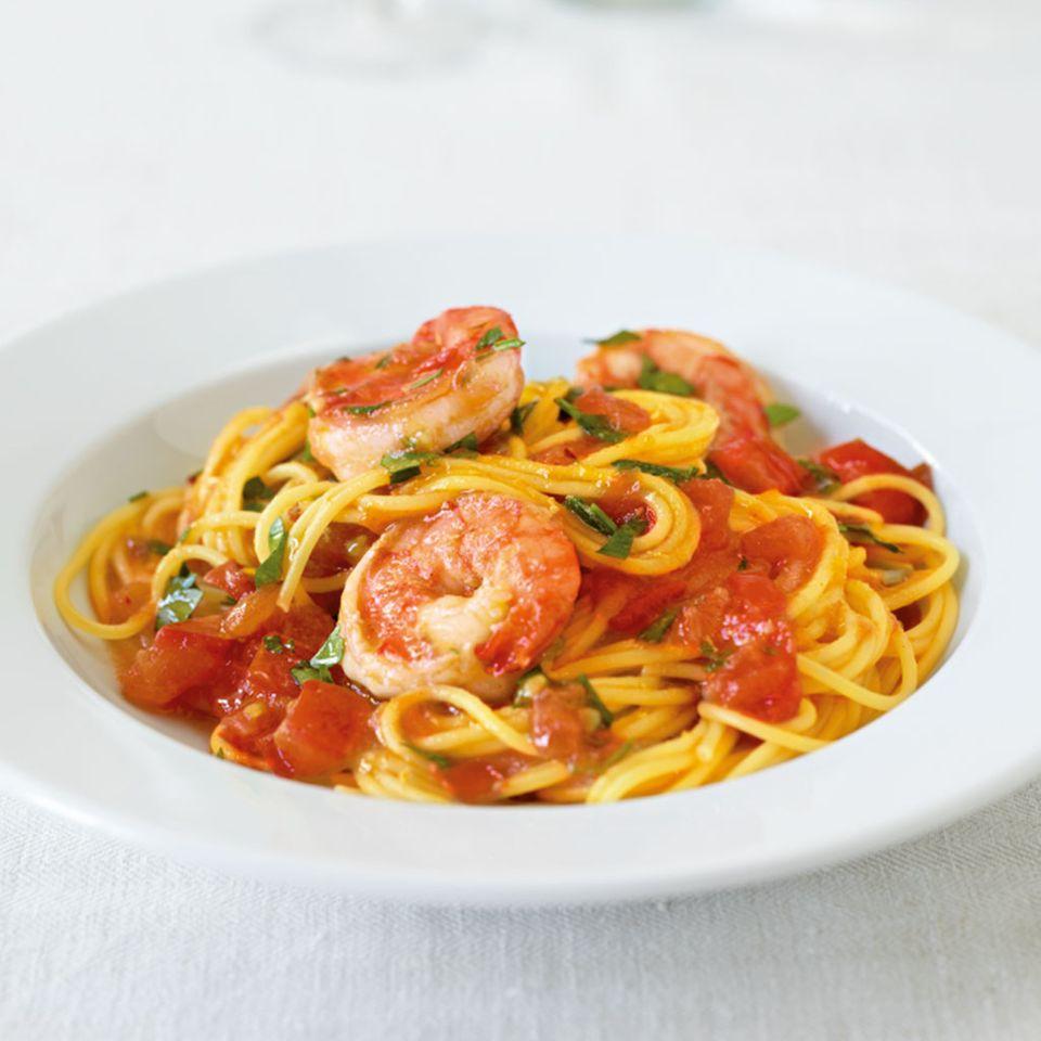 Spaghettini mit Curry-Garnelen