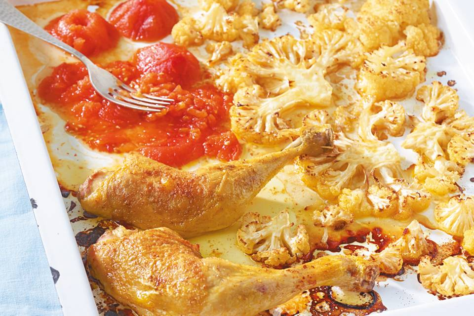 Hähnchen mit Blumenkohl aus dem Ofen Rezept