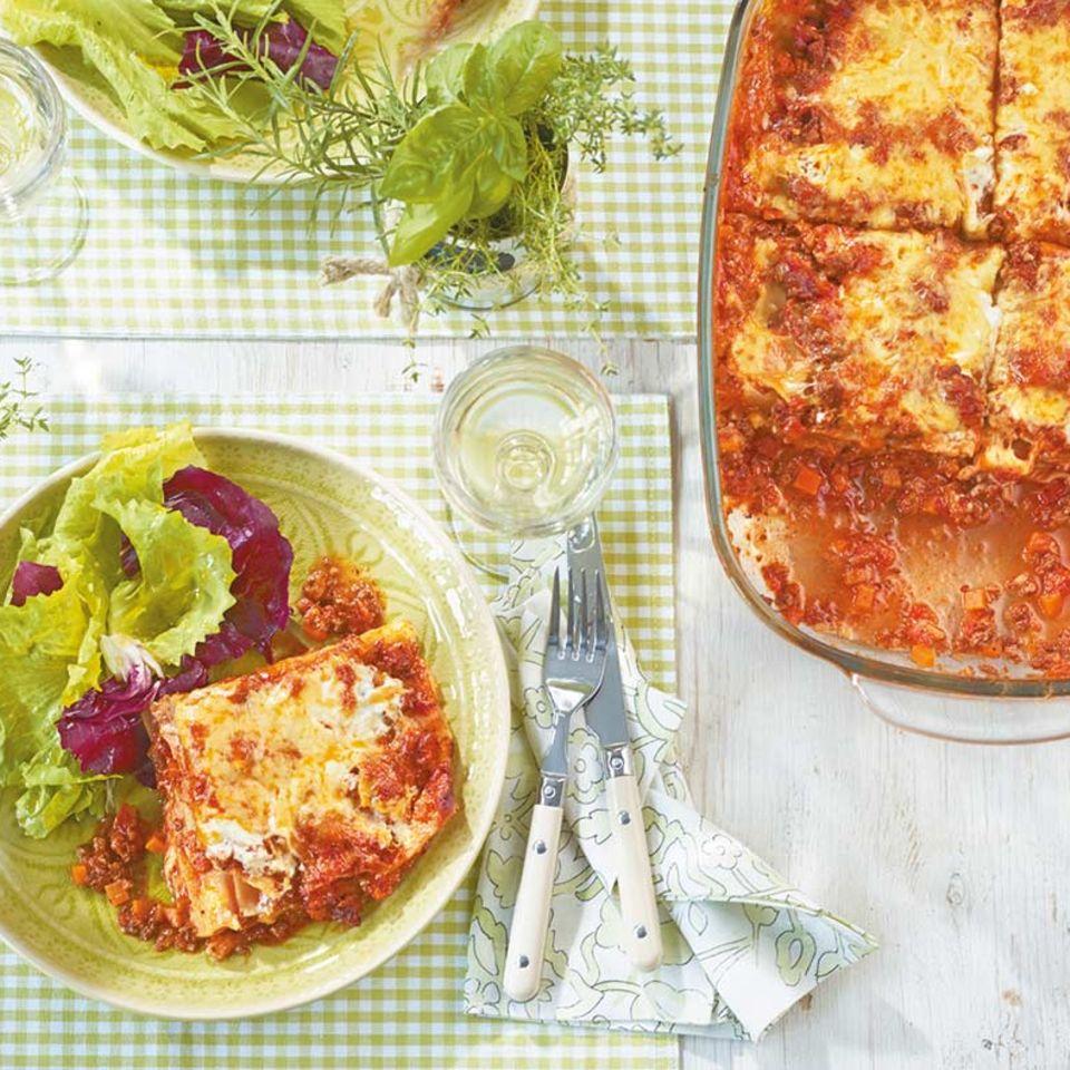 Lasagne mit Blattsalat