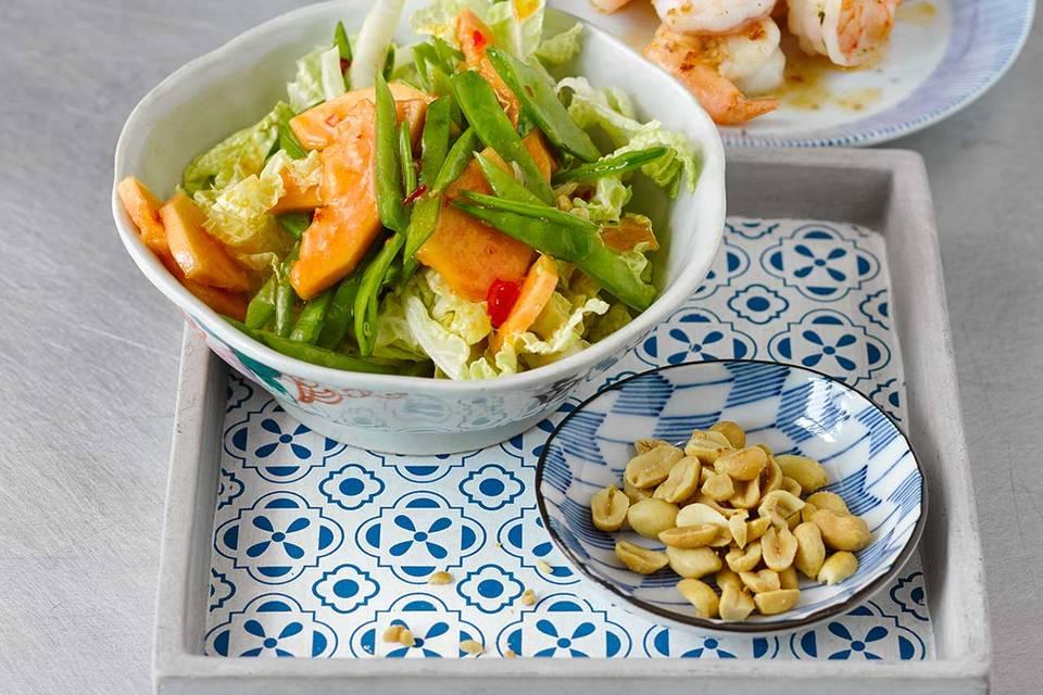 Garnelen mit Papaya-Salat Rezept