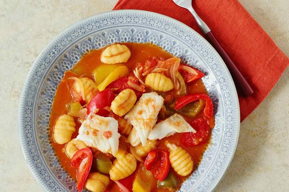 Paprika-Gnocchi mit Kabeljau Rezept