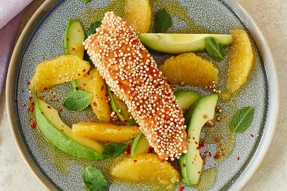 Avocado-Orangen-Salat mit Lachs Rezept