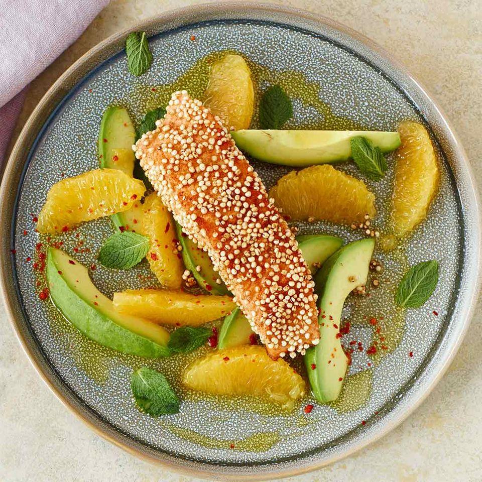 Avocado-Orangen-Salat mit Lachs