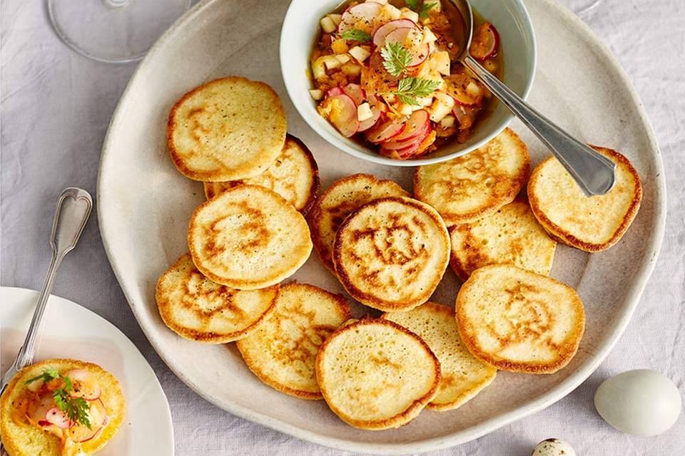 Pancakes mit Radieschen-Apfel-Vinaigrette Rezept