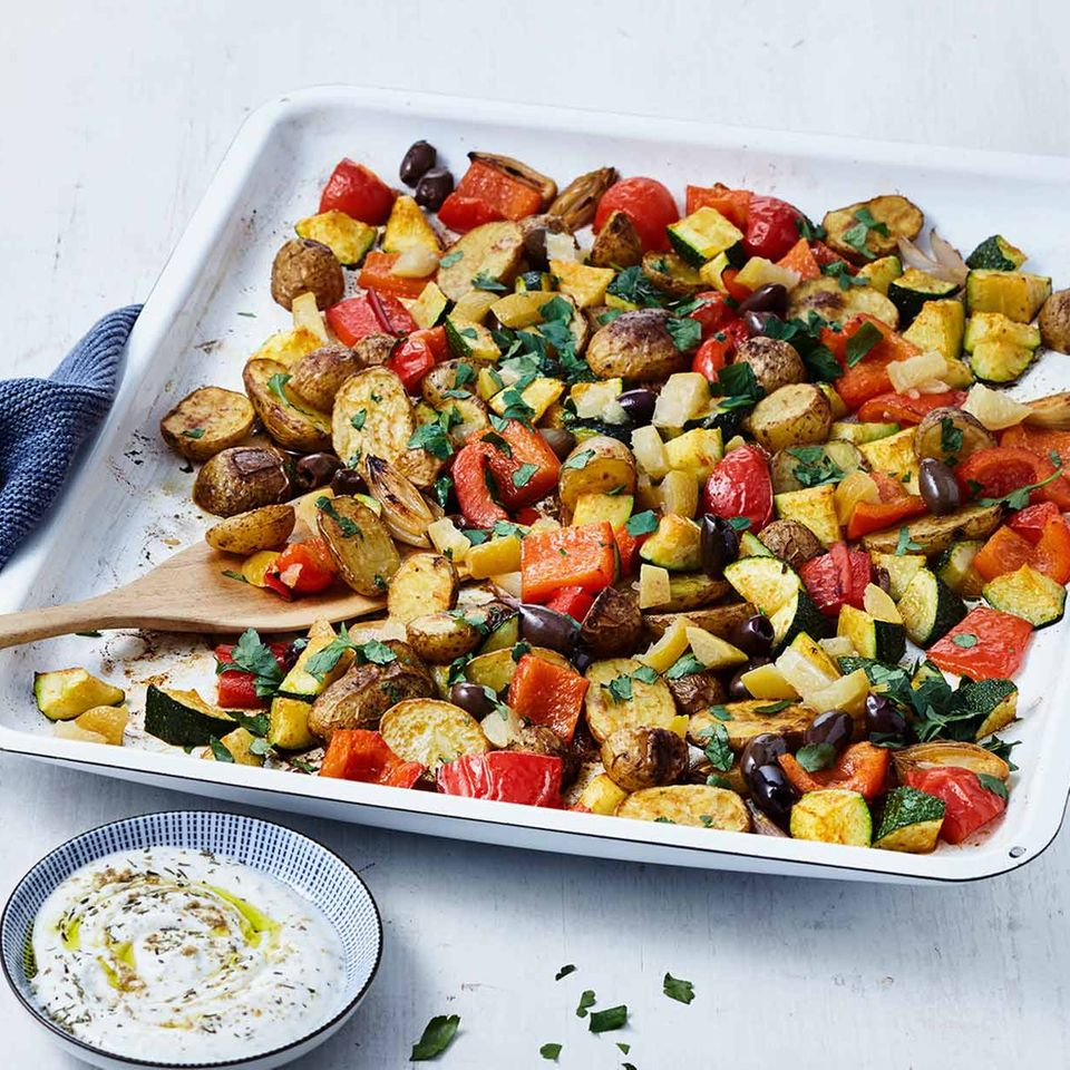 Buntes Gemüse mit Ducca-Dip
