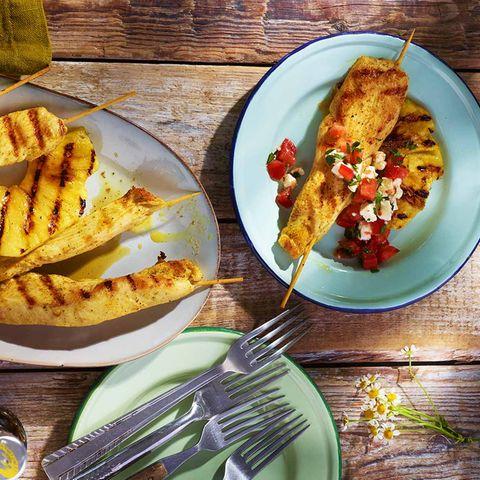 Curry-Hähnchenspieße