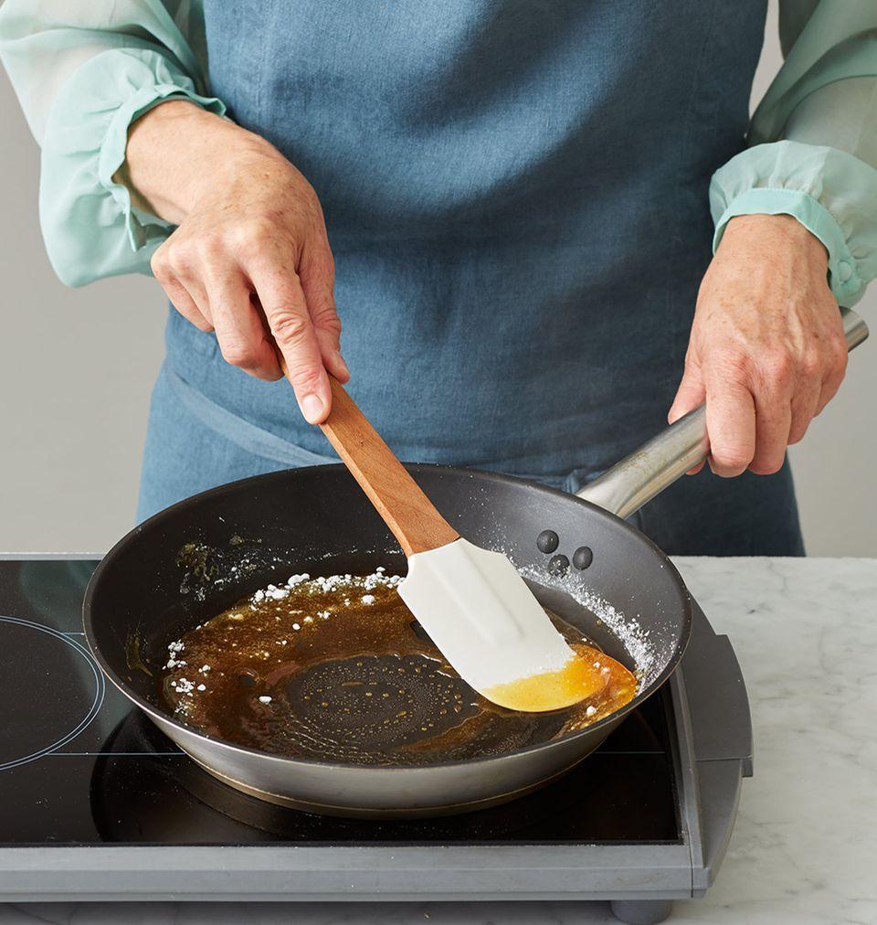 Pfirsichkuchen Melbar-Art Karamell zubereiten