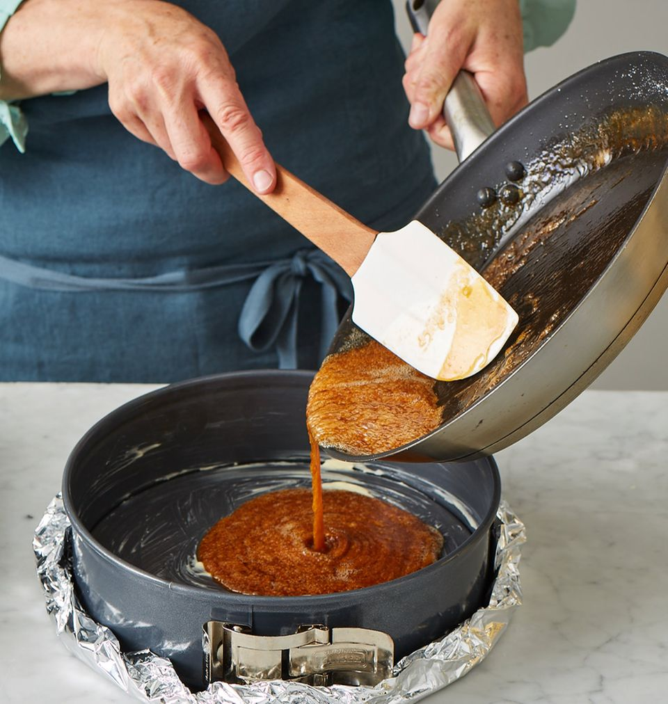 Pfirsichkuchen Melbar-Art Karamellboden herstellen