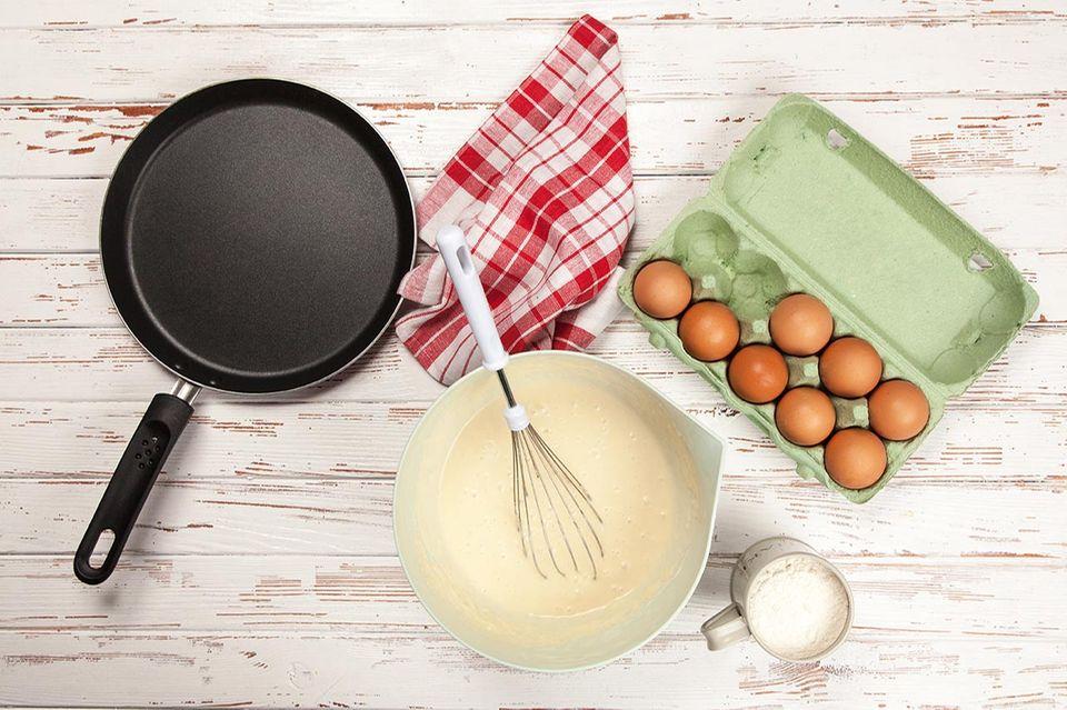 Pancake Teig mit Eiern und Milch