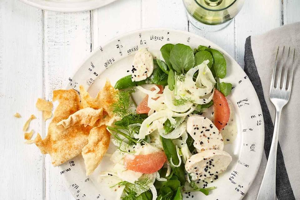 Fenchel-Grapefruit-Salat mit Kokos-Poulardenbrust Rezept