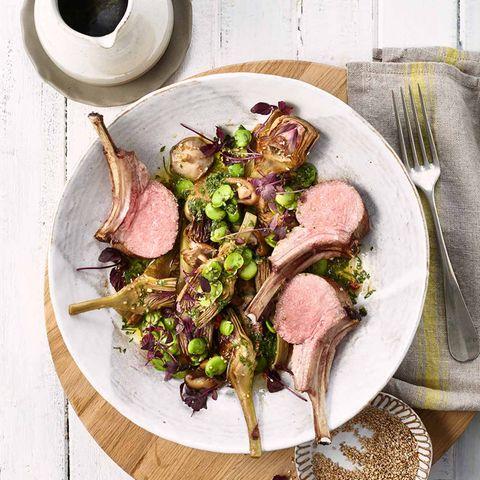 Artischocken-Bohnen-Salat mit Lammkarree