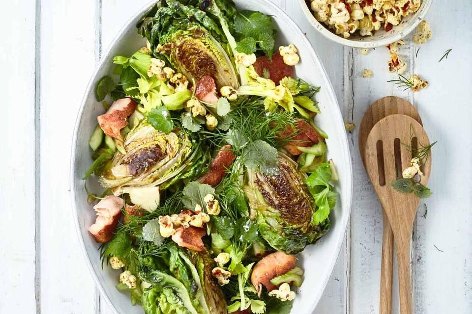 Gebratener Römersalat mit Sumach-Saibling Rezept
