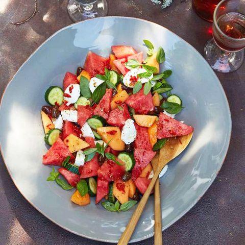 Melonensalat mir Mozzarella
