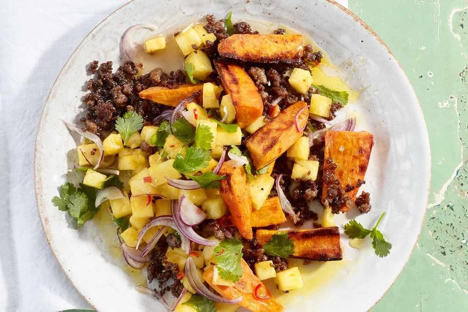 Süßkartoffel-Hack-Salat Rezept