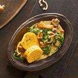 Kürbis-Serviettenknödel mit Pilz-Spinat-Rahm für Thermomix ®