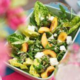 Salat mit Ziegenkäse und Pfirsichen