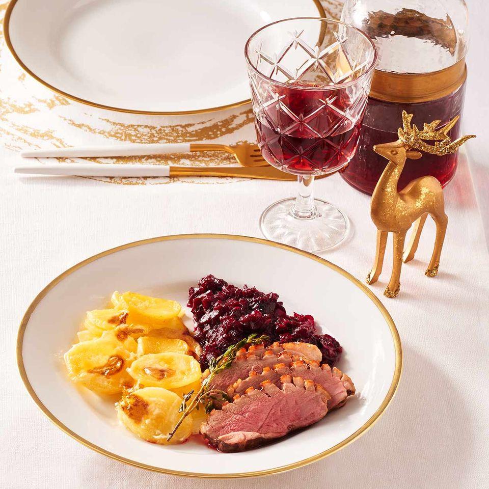 Entenbrust mit Roter Bete und Kartoffelgratin für Thermomix ®