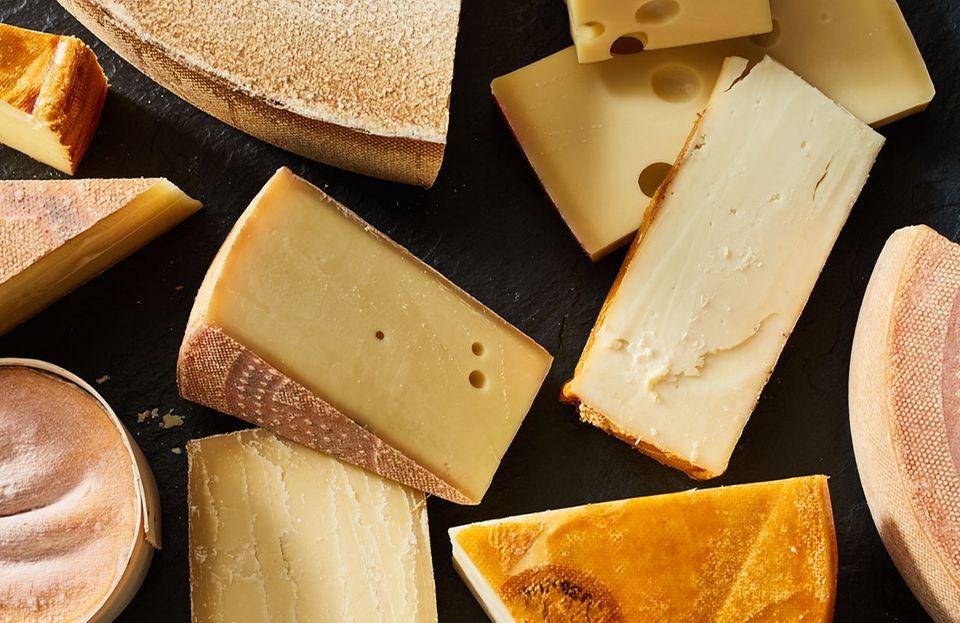 Schweizer Käse Vacherin Le Gruyère, Schweizer Emmentaler und Appenzeller