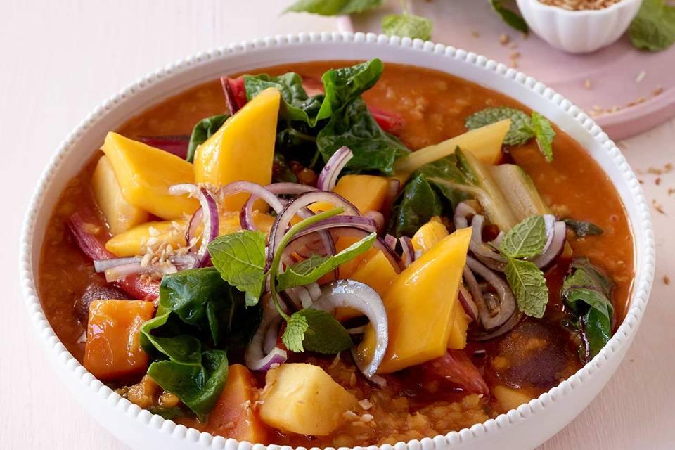 Mangold-Curry mit Mango-Salsa Rezept