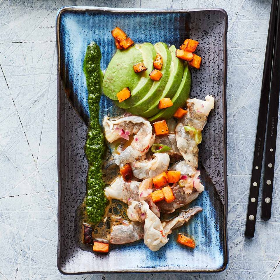 Garnelen-Ceviche mit Korianderpesto