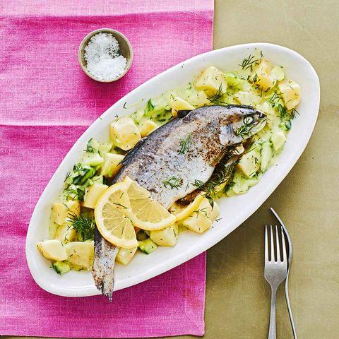 Forelle mit Kartoffel-Gurken-Gemüse für Thermomix ®