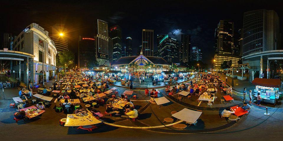 Satay Street Lau Pa Sat Singapur