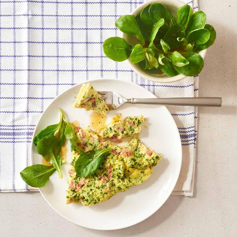 Käse-Schinken-Omelett mit Feldsalat: Thermomix ® Rezept