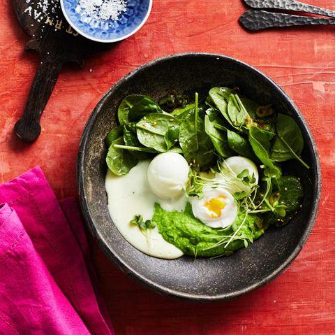 Wasabi-Eier mit Erbsenstampf: Thermomix ® Rezept